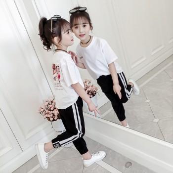 筠依衣童装女童套装夏季新款纯棉T恤两件套潮衣