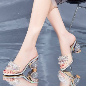 夏季新款水钻鱼嘴高跟鞋女韩版百搭时尚女鞋拖鞋凉鞋