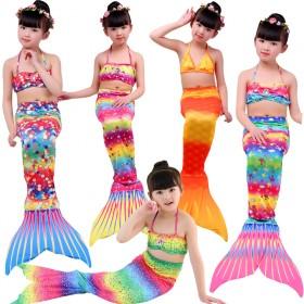 儿童美人鱼泳衣夏款女童美人鱼三件套美人鱼服装比基尼