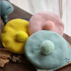 森女糖果色贝雷帽纯色羊毛韩国文艺安哥拉兔毛球