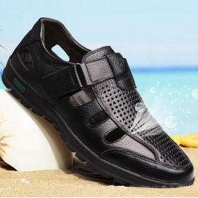 凉鞋男夏外穿真皮软底潮流休闲防滑透气头层牛皮洞洞鞋