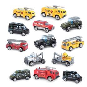 4只合金工程车消防军事警察主题车模型儿童男孩玩具