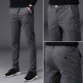 男长裤薄款冰丝透气直筒裤修身商务青年潮流小脚裤