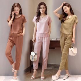 女装夏季棉麻裤子套装女韩版休闲时尚气质大码女款两件