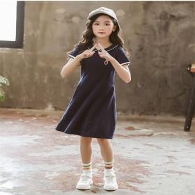 短袖POLO领连衣裙中大童超洋气学院风夏装公主裙