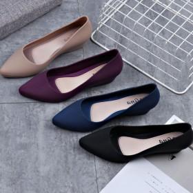 女鞋柔软尖头鞋时尚雨鞋外穿防水浅口坡跟鞋四色可选