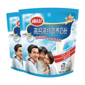 南山高钙高锌牛奶粉400gx2袋全家早餐奶小条装