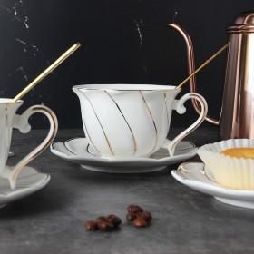 描金骨瓷咖啡杯欧式下午茶杯具套装