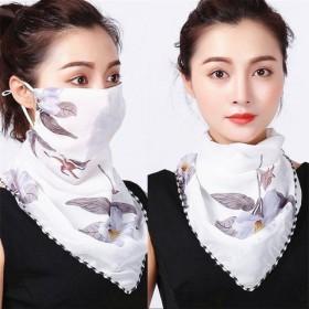 夏季防晒口罩护颈女士雪纺透气面罩骑车开车防紫外线丝