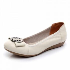 头层牛皮单鞋春季平底软底透气单鞋妈妈鞋瓢鞋豆豆鞋
