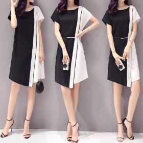 2019夏季新款韩版女装撞色拼接短袖中长款修身显瘦