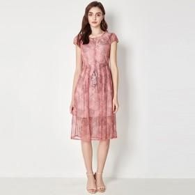 商场品牌剪标典雅大气复古印花系带连衣裙2019女装
