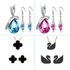 水晶耳坠水晶项链两件套黑天鹅珍珠项链耳环套装