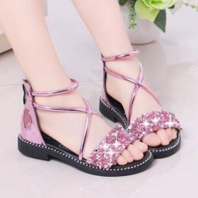 女童凉鞋新款时尚小学生女孩罗马鞋韩版水钻公主鞋