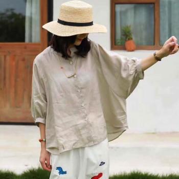 爆款新上市 衬衫女夏季新款宽松七分袖韩版潮百搭