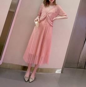 时尚针织短袖吊带纱裙两件套