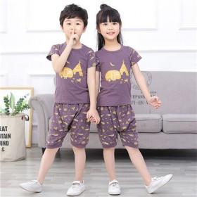 夏装儿童短袖套装女童家居服纯棉小孩睡衣薄款T恤