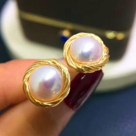 大颗粒复古天然淡水珍珠925银防过敏 绕线耳钉