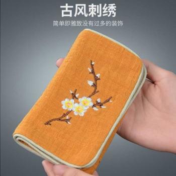 棉麻刺绣茶巾茶布毛巾抹布吸水加厚茶台几复古功夫茶具