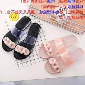 山茶花水晶果冻凉鞋女鞋沙滩鞋女鞋雨鞋花朵平底拖鞋凉