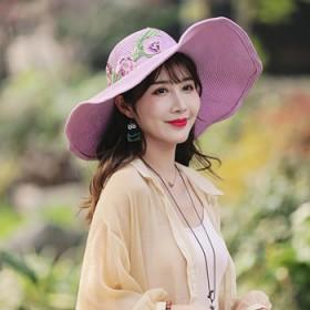 遮阳帽防晒草帽可折叠大沿帽