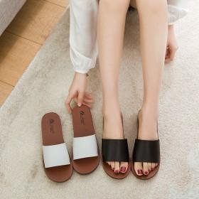 夏季一字拖拖鞋外穿居家内外室拖鞋厚底可爱