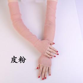 防晒网纱冰袖女夏季蕾丝防紫外线薄款长袖骑车手套开