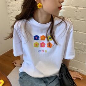 夏季韩版宽松休闲简小花图案显瘦清新印花短袖T恤女
