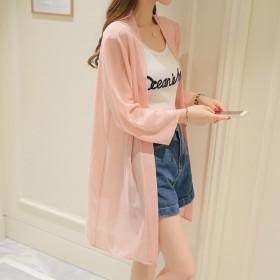 2019春夏新韩女装防晒衣宽松雪纺衫中长袖外套上衣