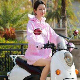 新款电动车骑车防晒衣遮阳防紫外线中长款纯棉连帽夏
