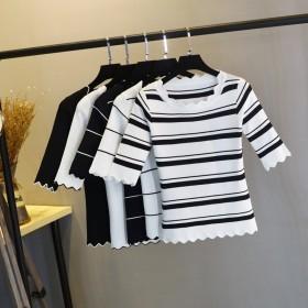 冰丝中袖T恤女秋季新款花边低圆领套头条纹显瘦短款