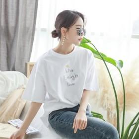 新款女装宽松纯棉上衣韩版学院风刺绣字母圆领短袖T恤