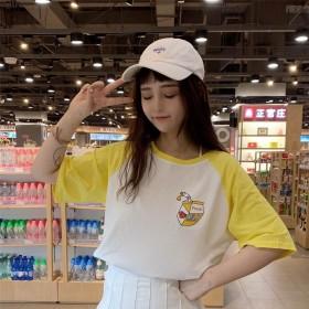 原宿风夏天新款软妹体恤衫夏季韩版女学生宽松拼接百搭