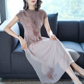 高贵气质显瘦雪纺连衣裙中长款时尚中国风妈妈装