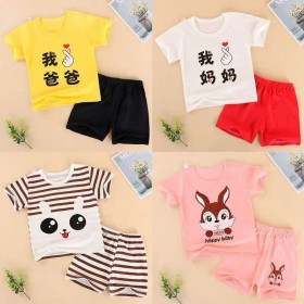 宝宝纯棉夏季男童T恤女童半袖女0-4岁男婴儿套装