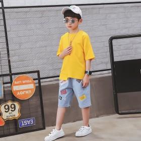 童装男童夏装套装2019新款中大童短袖牛仔中裤两件