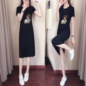 2019夏季新款女装字母印花韩版中长款短袖T恤连衣