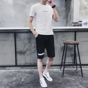 套装男士夏季休闲套装新款靓仔短袖短裤男T运动套装