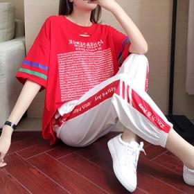 曳步舞服新款跑步速干透气短袖运动休闲网红健身套装女