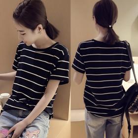 【包邮】夏季新款韩版chic宽松大码条纹短袖T恤