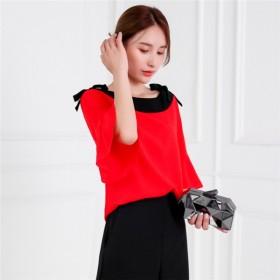 红色雪纺衫蝴蝶结很仙的露肩圆领七分袖宽松上衣女
