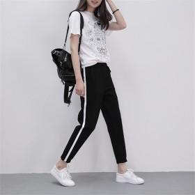 一条杠校服裤子初高中学生女薄款女士运动长裤显瘦修
