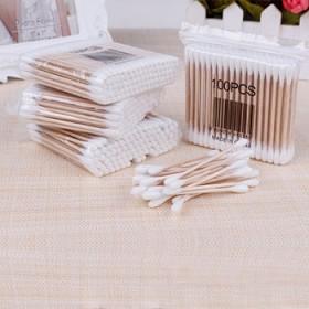 100支袋桦木棒双头棉签卫生棉棒美容棒化妆棉签棒