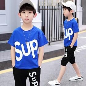 男童T恤套装儿2019新款夏休闲运动中大童短袖短裤