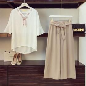 雪纺两件套女装学生韩版系带宽松阔腿裤时尚套装女