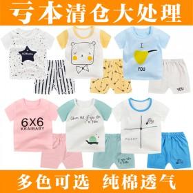 新款儿童短袖短裤套装夏季男女童纯棉T恤童装两件套宝