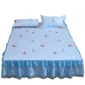 【清仓】冰丝凉席三件套可水洗床裙款1.8床折叠式