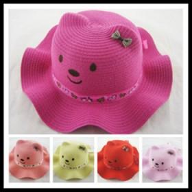 儿童可爱小熊baby草帽男童女童卡通造型宝宝太阳帽