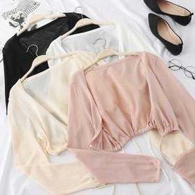 防晒衣女短款学生韩版薄外套夏季外搭吊带的开衫雪纺小