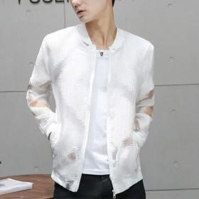 白色修身V领黑色镂空新款夏季防晒衣男透气轻便外套